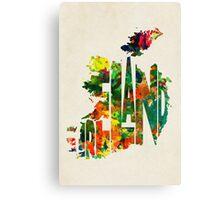 Ireland Typographic Watercolor Map Canvas Print
