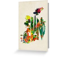 Ireland Typographic Watercolor Map Greeting Card