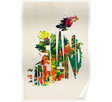 Ireland Typographic Watercolor Map Poster