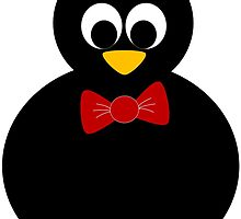 cute little penguin with bow tie by sutterama
