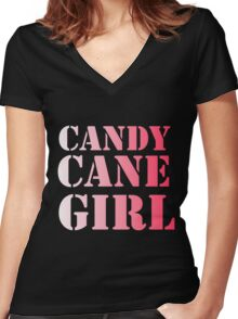 CANDY CANE GIRL Women's Fitted V-Neck T-Shirt