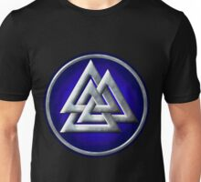 Norse Valknut - Silver and Blue Unisex T-Shirt