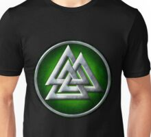 Norse Valknut - Silver and Green Unisex T-Shirt