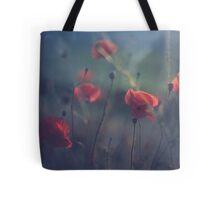 Red wild flowers poppies on hot summer day in blue tones Hasselblad square medium format film analogue photo Tote Bag
