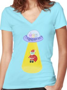 Happy Galactic Holidays Women's Fitted V-Neck T-Shirt