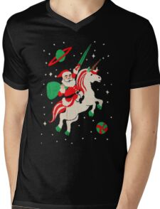 Santa and Unicorn Mens V-Neck T-Shirt