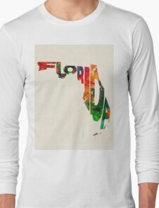 Florida Typographic Watercolor Map Long Sleeve T-Shirt