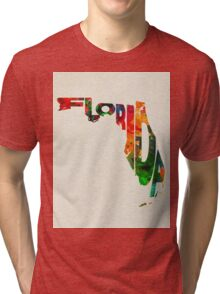 Florida Typographic Watercolor Map Tri-blend T-Shirt