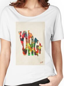 Georgia Typographic Watercolor Map Women's Relaxed Fit T-Shirt