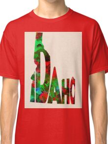 Idaho Typographic Watercolor Map Classic T-Shirt