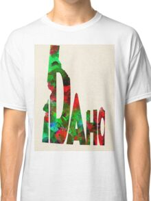 Idaho Typographic Watercolor Map Classic T-Shirt