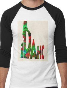 Idaho Typographic Watercolor Map Men's Baseball ¾ T-Shirt