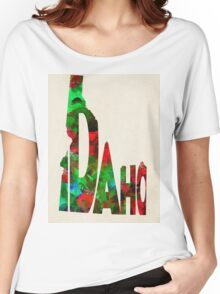 Idaho Typographic Watercolor Map Women's Relaxed Fit T-Shirt