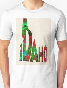 Idaho Typographic Watercolor Map Unisex T-Shirt