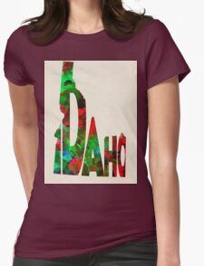Idaho Typographic Watercolor Map Womens Fitted T-Shirt