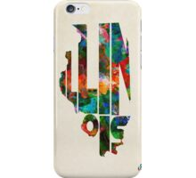 Illinois Typographic Watercolor Map iPhone Case/Skin