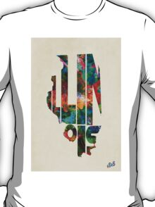 Illinois Typographic Watercolor Map T-Shirt