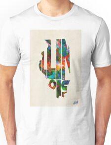 Illinois Typographic Watercolor Map Unisex T-Shirt