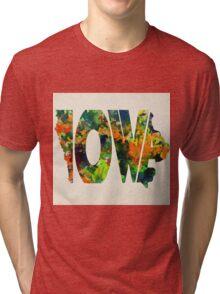 Iowa Typographic Watercolor Map Tri-blend T-Shirt
