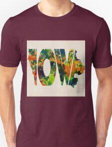 Iowa Typographic Watercolor Map Unisex T-Shirt