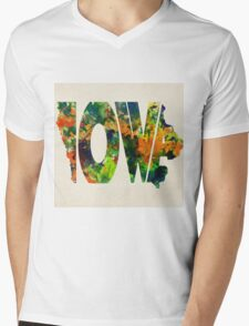 Iowa Typographic Watercolor Map Mens V-Neck T-Shirt