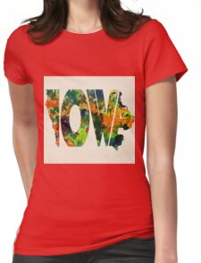 Iowa Typographic Watercolor Map Womens Fitted T-Shirt