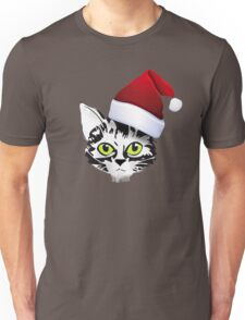 christmas cat katze kitty santa rote mütze Unisex T-Shirt