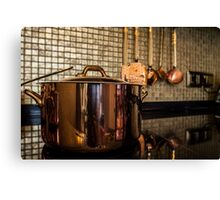 copper Saucepan on the stove Canvas Print
