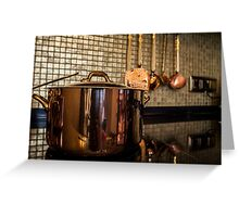 copper Saucepan on the stove Greeting Card
