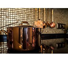 copper Saucepan on the stove Photographic Print
