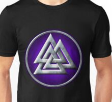 Norse Valknut - Silver and Purple Unisex T-Shirt