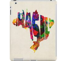 Brazil Typographic Watercolor Map iPad Case/Skin