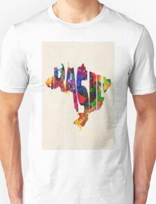 Brazil Typographic Watercolor Map Unisex T-Shirt