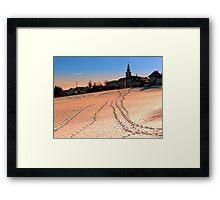 Beautiful village in winter wonderland | landscape photography Framed Print