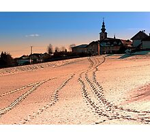Beautiful village in winter wonderland | landscape photography Photographic Print