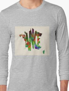 France Typographic Watercolor Map Long Sleeve T-Shirt