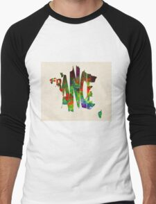 France Typographic Watercolor Map Men's Baseball ¾ T-Shirt