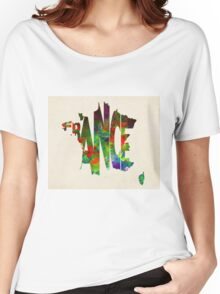 France Typographic Watercolor Map Women's Relaxed Fit T-Shirt