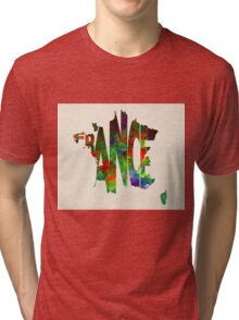 France Typographic Watercolor Map Tri-blend T-Shirt