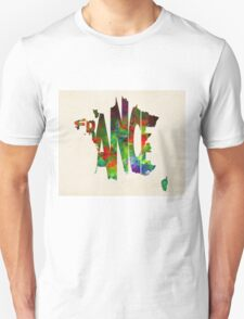 France Typographic Watercolor Map Unisex T-Shirt