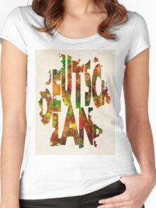 Germany Typographic Watercolor Map Women's Fitted Scoop T-Shirt