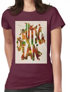 Germany Typographic Watercolor Map Womens Fitted T-Shirt