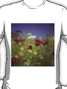 Red wild flowers poppies on hot summer day in urban city wasteland Hasselblad square medium format film analogue photo T-Shirt