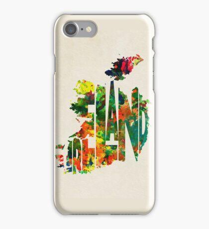Ireland Typographic Watercolor Map iPhone Case/Skin