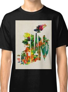 Ireland Typographic Watercolor Map Classic T-Shirt