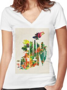 Ireland Typographic Watercolor Map Women's Fitted V-Neck T-Shirt