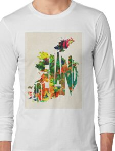 Ireland Typographic Watercolor Map Long Sleeve T-Shirt