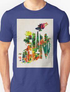 Ireland Typographic Watercolor Map Unisex T-Shirt