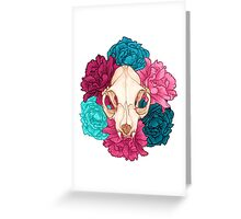 TWO Flower Skull Greeting Card