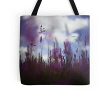 Long grass and wild flowers on summer day in Spain square medium format film analogue photography Tote Bag